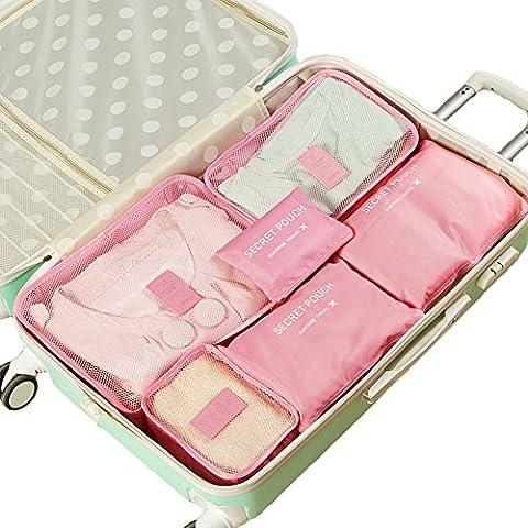 Kleidertaschen Set IHRKleid® Wasserdichte Organisatoren Würfel - 3 Reisen Würfel + 3 Gepäck Kompression Beutel Verpackung (Rosa)