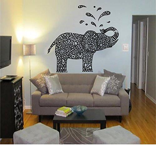 Wandaufkleber Elefant Aufkleber Vinyl Aufkleber Kinder Kindergarten Schlafzimmer Home Decor Innen Design Art Wandmalereien schwarz Freitag Verkauf (mn766), Vinyl, schwarz, 48cmTall x 51cmWide