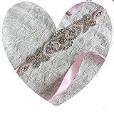 Lia Fashion Brautgürtel, Strassgürtel, 270x2 cm, Satin, rosa, Vintage Gürtel zum Brautkleid, Hochzeitskleid, Hochzeit, Glitzer, Perlen, Silber, Pink