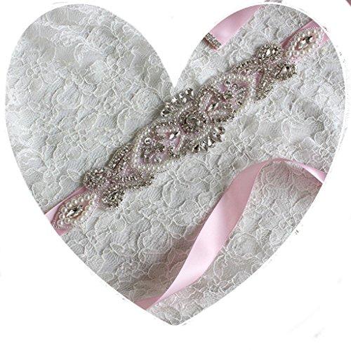Brautgürtel, Strassgürtel, 270x2 cm, Satin, rosa, Vintage Gürtel zum Brautkleid, Hochzeitskleid,...