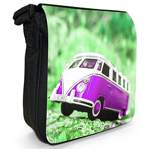 Wohnmobilszene Kleine Schultertasche aus schwarzem Canvas Wohnmobilszene Violett