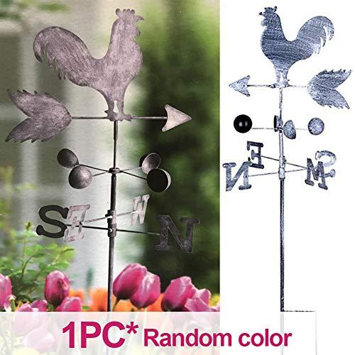 WERTAZ Wetterfahne 120 cm Feste Garten Durable Spinner Geschwindigkeit Richtung Zufällige Farbe Hof Retro Eisen Hahn Wind Anzeige Handwerk Ornament Park Decor