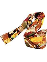 sourcingmap® Ladies Horse Pattern Soft Chiffon Long Scarf Stole Shawl Red Green Yellow