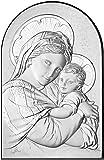 Ferrari & Arrighetti Quadro Madonna con Bambino a Forma di Arco con lastra in Argento - Bassorilievo - 19 x 12,5 cm