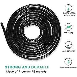 Gaine Spirale Flexible Universel 4mm,6mm AGPTEK, Kit de Câble Rangement 2 pack de Tube d'Enroulement de Câble en Spirale pour Protéger le Câble d'Antenne TV/PC/USB/Télé/AUX- (10m) Noir