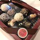 Runde Pralinen Mix, zuckerfreie Pralinen, Box 12er: Gianduja Nuts - Dulce de Leche - Kokoscreme - Peanut Filigran - Amande Blanc