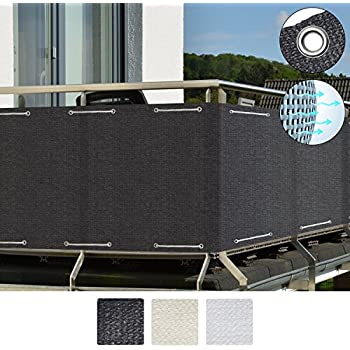 Sol Royal SolVision Balkon Sichtschutz HB2 HDPE blickdichte Balkonumspannung 90x500 cm - Anthrazit - mit Ösen und Kordel