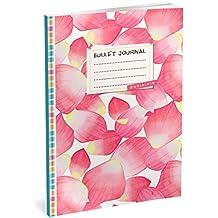Bullet Journal: Punktraster Notizbuch (Ca. A5) + 100 Seiten + Vintage Softcover | TOP Motiv: Rosa Blüten | Dot Grid Journal, Kalligraphie Übungsheft, Punktpapier +++ Jetzt mit Register +++