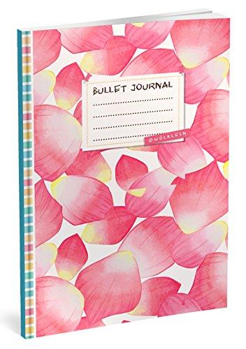 Bullet Journal: Punktraster Notizbuch (Ca. A5) + 100 Seiten + Vintage Softcover | TOP Motiv: Rosa Blüten | Dot Grid Journal, Kalligraphie Übungsheft, Punktpapier +++ Jetzt mit Register +++ por Wölklein Designs