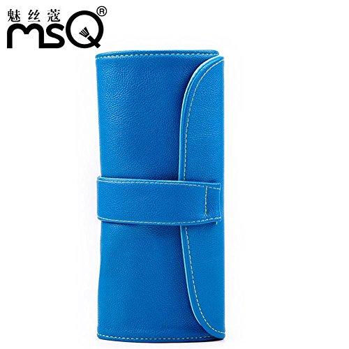 Meydlee trucco borsa PU donne pratico portatile Cosmetic Toiletry borse in grado di confezionare 12 pennelli Travel Organizer deposito con pulsante azzurro non Include