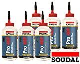 Set 6x Soudal Holzleim Pro 40-P PU-Leim wasserfest Polyurethanleim Leim D4 750g