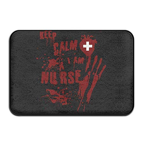 Non Slip Door Mat Outdoor,Decorative Garden Office Bathroom Door Mat with Non Slip, Inside & Outside Carpets Floor Door Mat Keep Calm I Am Nurse Scary Halloween Design Pattern for Livingroom