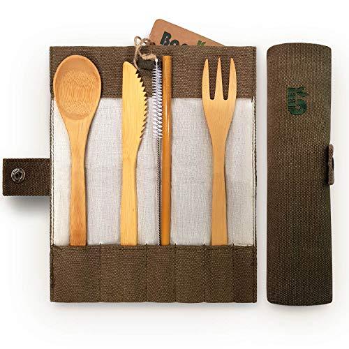 Bambaw Cubiertos de bambú | Cubiertos Madera ecológicos |Utensilios Madera | Set para Picnic | Set Cubiertos para Camping | Cucharada, Tenedor, Cuchillo, Pajita | 20 cm