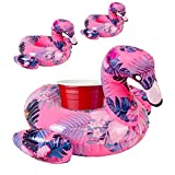 Best Floaties For Kids - Premium Inflatable Drink Holder (Flamingo) - 3 Pack Review