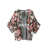 Yistu Women Kimono Tops , Oversize Vintage Floral Loose Shawl Chiffon Cardigan Coat Jacket+1pc Necklace (S)