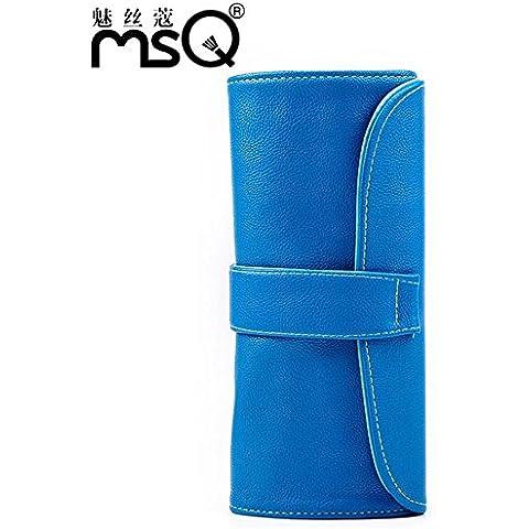 Meydlee trucco borsa PU donne pratico portatile Cosmetic Toiletry borse in grado di confezionare 12 pennelli Travel Organizer deposito con pulsante azzurro non Include pennelli