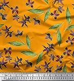 Soimoi Orange schwere Leinwand Stoff Blume & Blätter
