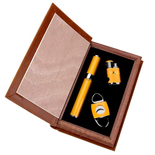 Cigar Lighter Cutter Set (3pcs/set), 4 Torch Jet Flame With Punch And Cigar Cutter And Cigar Jar Tube,Packed With Nice Gift Box (Tube Cigar Cohiba)