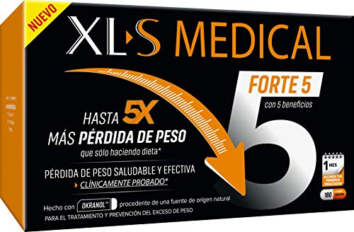 XLS Medical FORTE 5 - PIERDE HASTA x5 veces MÁS PESO que sólo haciendo dieta - Captagrasas con Ingredientes Activos de ORIGEN NATURAL. 1 mes de tratamiento = 180 Cápsulas