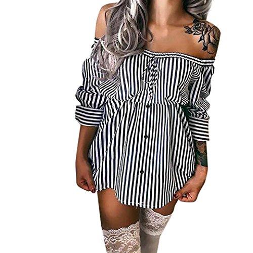Elecenty Damen Minikleid Schulterfrei Hemdkleid Kleid Sommerkleid Taste Streifen Rock Blusekleid Kleider Frauen Mode Bowknot Langarm Kleidung Abendkleider Rock Partykleid (M, Schwarz 2)