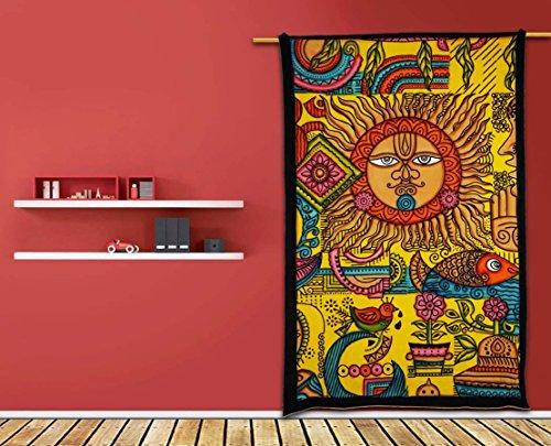 Étnico sol egipcio amarillo cepillo de pared Arte, hecho a mano pintado, indio Mandala tapiz, tapiz hippie, bohemio Colcha Tapiz, dormitorio tapiz, tapiz tapices de pared por raajsee