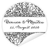Aufkleber 'Sketch' 24 Stück (4 cm) personalisiert Hochzeit Gastgeschenke Vintage Blumen