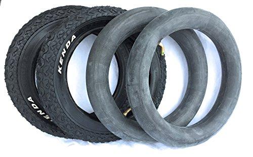 Preisvergleich Produktbild 2x Mantel 12 1/2 x 2 1/4 (62-203) und Schlauch abgewinkeltes Autoventil Kinderwagenreifen FISCH-Profil Ersatzreifen Reifen für Kinderwagen Fahrrad KENDA 12 Zoll