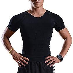 IMAGE Débardeur Sport Séchage Rapide T-Shirt Amincissant à Manche Courte Débardeur Homme sous-Vêtements Masculins pour Fitness Gym Bodybuilding Running Noir