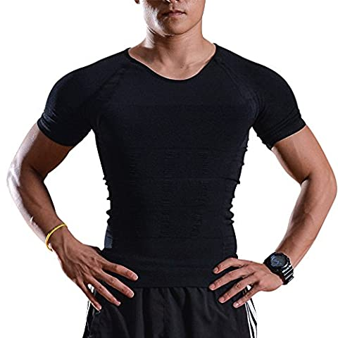 Men's Body Shaper - IMAGE Men's Body Shaper for Men - Slimming Vest for Tummy Waist Body Belly lose Weight - Compression Shirt to lose Weight - Shaping Garment burning Fat while doing exercises (X-Large)