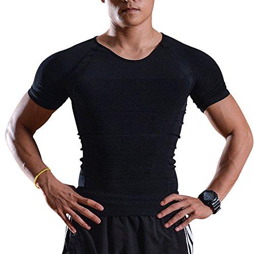 Uomo Body Shaper - Body Shaper, da uomo - La maglia di dimagramento di pancia del corpo della vita della pancia perdere peso - Camicia di compressione per perdere peso - modella indumento di bruciare i grassi, mentre facendo esercizi (Grande)
