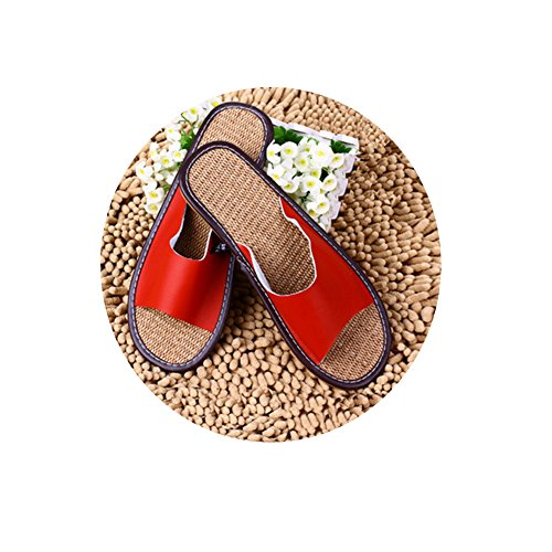 TELLW Solid Color Velluto Corallo Ispessimento Caldo Pavimento in Legno Pantofole Invernali e Pantofole da Donna e da Uomo all'aperto di Cotone uomini rosso scuro