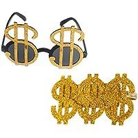 ad48d3b922f28 F Fityle 2pcs Novedad Oro Signo De Dólar Dinero Anillo Gafas Chulo Gangster  Rapero Lujo