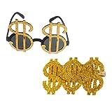 F Fityle 2pcs Novedad Oro Signo De Dólar Dinero Anillo Gafas Chulo Gangster Rapero Lujo