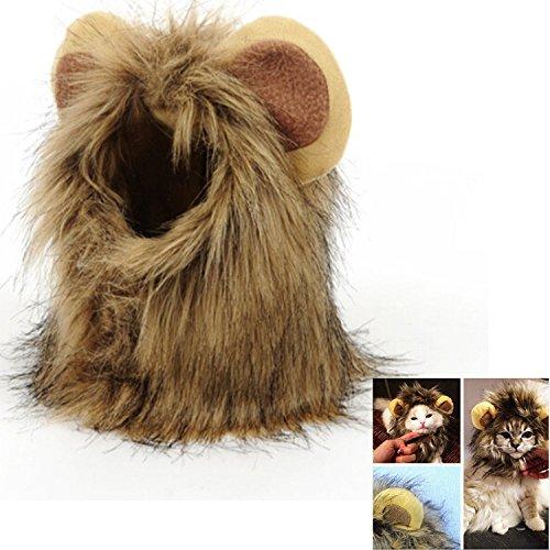 Haustier Kostüm Löwenmähne Perücke Cosplay für Hunde Katze Halloween Karneval mit Ohren (Halloween-kostüme Mit Einem Haustier)