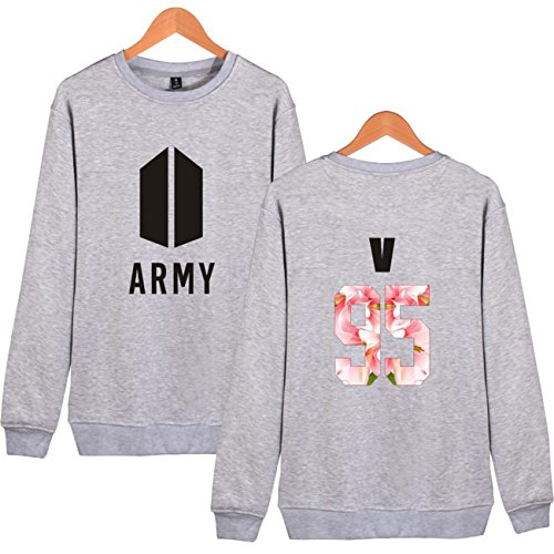 SIMYJOY Lovers BTS ARMY Felpe KPOP Pullover BTS Hip Hop Felpa Top per Uomo Donna Adolescente grigio V 95