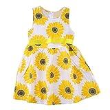 JERFER Rüschen Sunflower Floral Prinzessin Kleider Kinder Mädchen Kleidung ärmellose Outfits