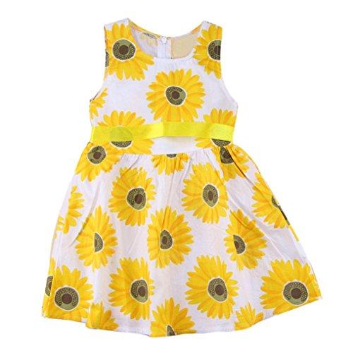 JERFER Rüschen Sunflower Floral Prinzessin Kleider Kinder Mädchen Kleidung ärmellose Outfits (Für Kleider Auf Kinder Verkauf)