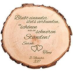 Baumscheibe mit Gravur zur Hochzeit – Bleibt einander stets verbunden… – Personalisiert mit [NAMEN] und [DATUM] – Motiv Herzen – Türschild – Dekoration als Geschenk-Idee – Hochzeitsgeschenk