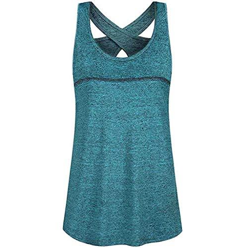 yoins 2hearts Umstandsmode Damen Ärmel Tops Mode weniger Rundhals Criss Cross Rücken Athletic Yoga O-Neck Shirt ()