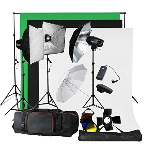 BPS Profi 540W Fotostudio Set Studioleuchte Studioblitz Studioset inkl. Abschirmklappe Schirm Baumwolle Hintergrund Stoff(weiß schwarz grün )Tasche Synchronblitzlampe Lampenstativ Softbox Set
