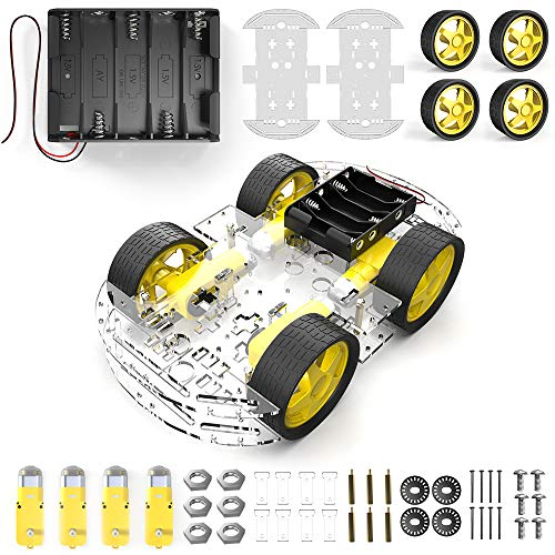 diymore 4 Rad Roboter Chassis Smart Auto mit Geschwindigkeit und Tacho Encoder mit Batterie Box für Arduino Raspberry Pi Roboter DIY Kits (Roboter-diy)