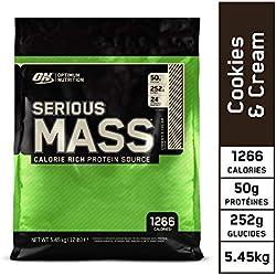 Optimum Nutrition Serious Mass, Mass Gainer Whey, Proteines Musculation Prise de Masse avec Vitamines, Creatine et Glutamine, Cookies & Crème, 16 Portions, 5.45 kg