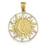 CKL International 14K Gelb Gold Sonne Mond Sterne Celestial Anhänger Charme