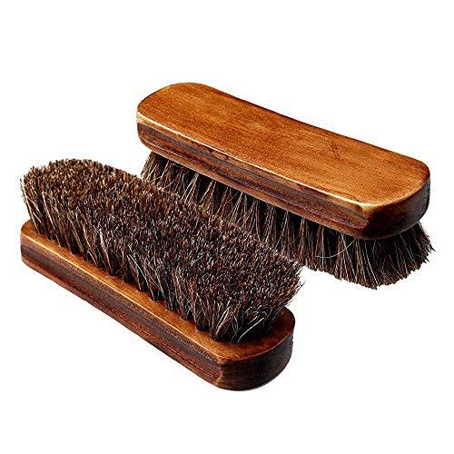 caili 2 Pcs Cabello de Caballo Zapatos Cepillos, Pulido Cepillos de Caballo para Botas/Zapatos Multifuncional para Limpieza y Cuidado de Zapatos, Botas