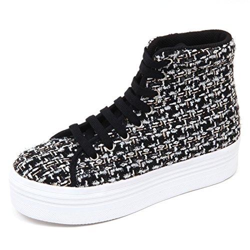 D2194 sneaker donna JEFFREY CAMPBELL HOMG TWEED bianco/nero shoe woman Bianco/Nero