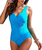 Wantoby Women's Tummy Control One Piece Swimsuit Bathing Suit Monokini Plus Size Swimwear (UK12, Blue)