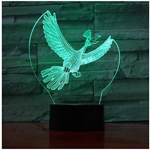Nachtlicht 7 Bunte Usb Vogel 3D Illusion Lampe Schlafzimmer Schlaf Licht Led Tischlampe Kind Nachtlichter Krähe Weihnachtsgeschenke (Linien Krähen)