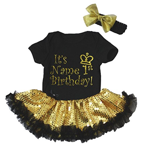 Petitebelle Personalized My 1st Birthday Black Bodysuit Gold Sequins Tutu Nb-18m (12-18 Monat) (Personalisierte Tutu)