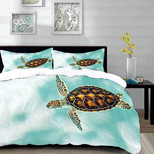 Bettbezug-Set, Schildkröte Home Decor, niedliche Baby Schildkröte Schwimmen in abstrakten Gewässern ruhige Natur Bild, Queen / Full Size dekorative 3-teiliges Bettwäscheset mit 2 Kissen Shams, Seafoam (Seafoam Baby Bettwäsche)