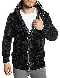 Carisma - Gilet homme noir en laine tressée à capuche